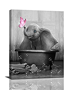 Canvas Wall Art Elephant In Bathtube Canvas Print Black And White Animal Wall Art Contemporary Painting Bathtub Wall Decor Funny Artworks Home Decor For Bathroom Living Room Bedroom Framed 12x16inch