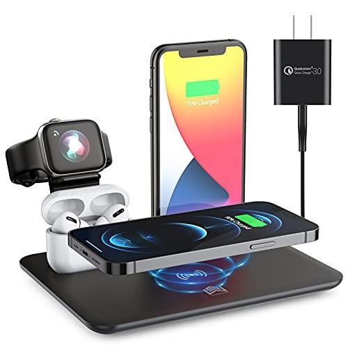 Cargador inalámbrico 2 en 1, estación de Carga inalámbrica QI rápida Base de Soporte Compatible para iPhone 12 12 Pro MAX 11 X XS Compatible para AirPods 2 Pro Compatible para Apple Watch 2 3 4