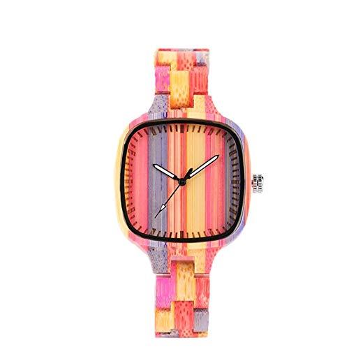 Reloj de Madera Colorido para Mujer, Pulsera de Madera Completa, Reloj para Mujer, Reloj debambú, horloges