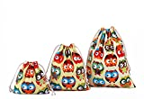 Amoyie-Lot de 3/4adorables sacs de rangement réutilisables avec cordon de serrage pour accessoires de maquillage, de voyage, quotidiens, couches-culottes, vêtements d'enfant