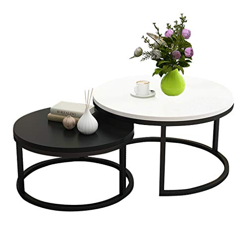 Set of 2 Nesting Coffee Tables Lacquered Yellow White, Round Side Table Modern Scandinavian, End Table for Living Room, Extensible, Stackable, White and Black