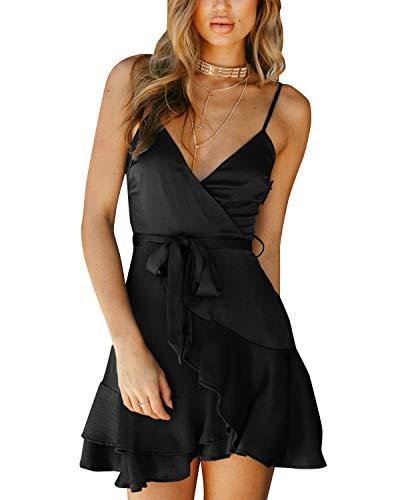 YOINS Damen Kleider Sexy Partykleid Einfarbig Sommerkleid Brautkleid Rockabilly Kleid Swing V-Ausschnitt Party Outfit Damen Schwarz XL