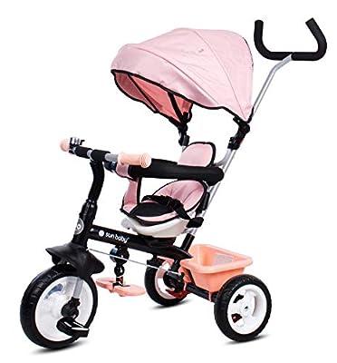 Sun Baby Triciclo Cochecito Fresh 360 Niño Niña con Asa de Empuje Cinturones y Cesta Rosa