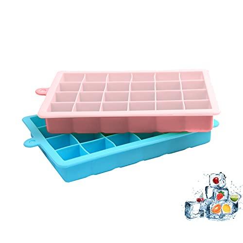Kaiyingxin Set di 2 Stampo Ghiaccio Silicone con Coperchio, 3cm Ice Cube Tray, 100% Senza BPA, Stampo Cubetti di Ghiaccio Riutilizzabili, Flessibili e Facili da Rimuovere, per Congelatore, Whisky
