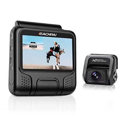 4K WiFi Dashcam Auto, EACHPAI E100 Pro Typ UHD Auto Kamera Vorne und Hinten Dual Cameras mit GPS Modul und 32GB Speicherkarte, 3 Zoll Bildschirm, 170° Weitwinkel, Einstellbare 6G Linse (Schwarz)