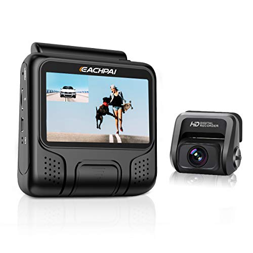 EACHPAI E100 Type UHD autocamera voor en achter Dual camera's met GPS-module en 32 GB geheugenkaart, 3 inch scherm, 170 graden groothoek, instelbare 6G lens (zwart)