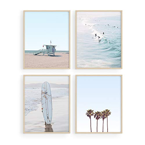 Haus and Hues Beach Wall Art Prints - Set of 4 Ocean Beach Decor Art Prints   Nautical Themed Beach Wall Decor and Decorations for Home Beach Art Prints Beach Decor   UNFRAMED (Blue, 8 x 10)