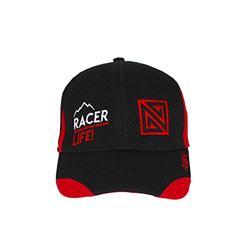 Nonbak Gorra Cap Mesh Casual/Running Tejido Transpirable Logo Bordado Unisex 6 Paneles Velcro Ajustable (Negro/Rojo)