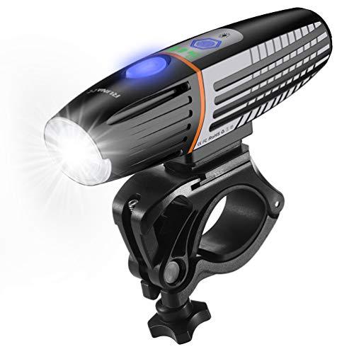 RUNACC Bike Light Rechargeable IPX6 Waterproof Intelligent Light Sensing Bicycle Front Light Set 400 Lumens 2200mAh