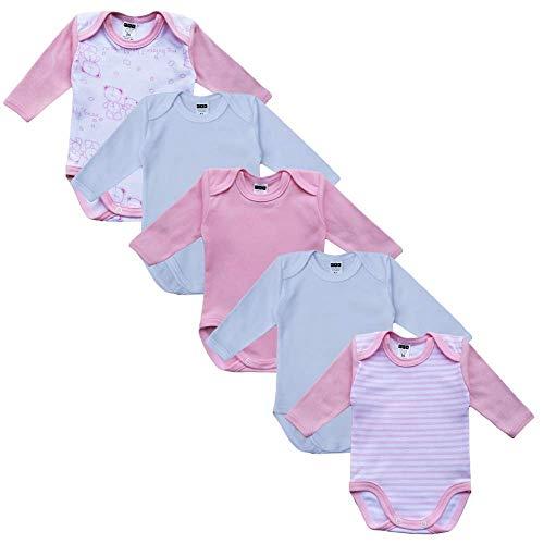 MEA BABY MEA BABY Unisex Baby Langarm Body aus 100% Baumwolle im 5er Pack, Baby Body mit Aufdruck, Baby Body für Mädchen, Baby Body für Jungen (56, Mädchen)