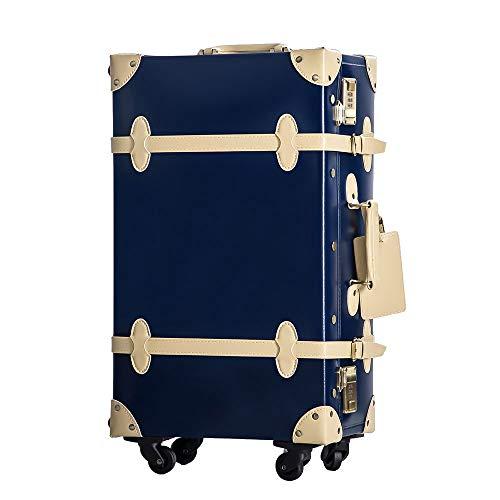 TANOBI トランクケース スーツケース キャリーバッグ SSサイズ機内持ち込み可 復古主義 おしゃれ 可愛い 13色4サイズ (ネイビー×ベージュ, SSサイズ(機内持ち込み可))