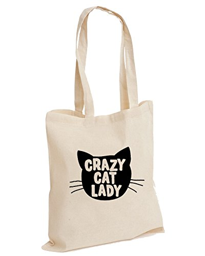 Crazy Cat Lady Feline Meow Slogan Animal Kitten Lover Cotton Tote Bag
