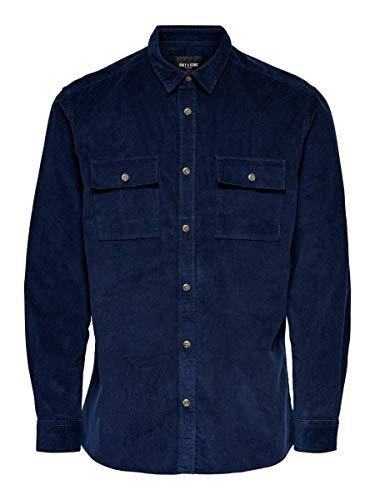 ONLY & SONS Herren Hemden onsEdward Solid blau XS
