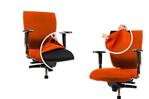CLEANCHAIR Set: Bürostuhl 2er Überzugsset für die SITZFLÄCHE und RÜCKENLEHNE (Standard, Orange)