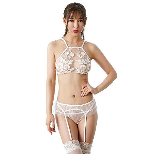 GHJX Ropa erótica para Mujer Lencería erótica Novia Sexy Ropa Interior de Boda Traje de Novia de Encaje Blanco