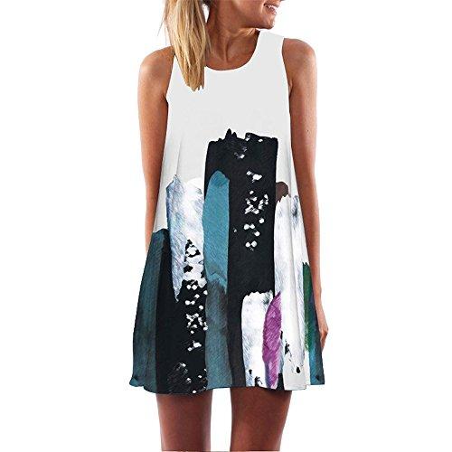 Sommerkleid, Damen Elegant Urlaub Unregelmäßige Kleid Damen Sommer Strand ärmelloses Party Kleid Minikleid Kurz Hemdkleid Blusekleid Drucken Kleider Partykleid Cocktailkleider