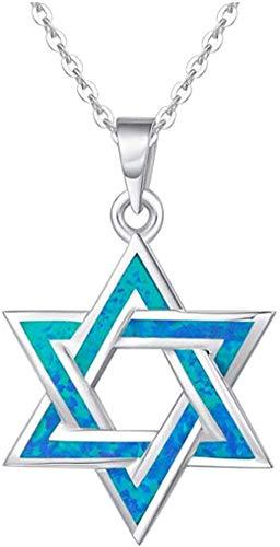 DUEJJH Co.,ltd Collar de Piedra Natal de octubreCollar de Estrella de ópalo Azul Creado/Pendientes/Pulsera de dijes Joyería Fina para Mujer