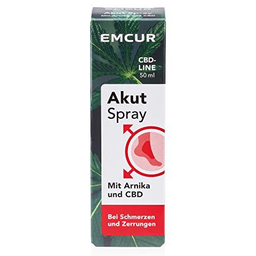 Emcur® Akut Spray mit Arnika und 100% synthetischem CBD | Bei Prellungen, Schwellungen und Zerrungen| Schmerzspray | CBD Spray | 50 ml