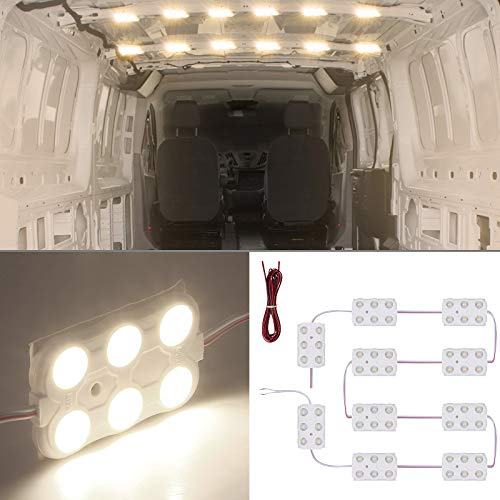 60LED Modul Innen Auto Beleuchtung Ihnenbeleuchtung 12V Wärmt weiß 5M Kabel für Camper Van Caravan Truck Off Roader Schuppen LKW HGV Streifenleuchten Innenraum Licht Fahrzeug Kuppel Deckenleucht