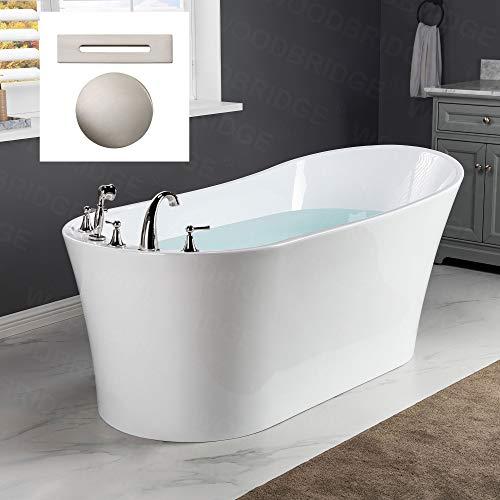 Woodbridge B-0083/BTA-0083 B/N Acrylic Freestanding Bathtub Contemporary Soaking Tub Overflow