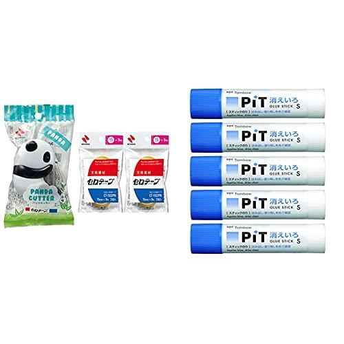 【セット買い】ニチバン セロテープ パンダ テープカッター 替え小巻 4巻付き ホワイト&ブラック CT15PAWB-S2PN2P & トンボ鉛筆 スティックのり 消えいろピット S 5個 HCA-513