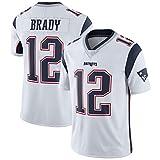 Camisetas de fútbol Americano Tom Brady 12#, Camiseta de Rugby de los Patriots de Nueva Inglaterra, Camiseta Deportiva de Secado rápido Bordada, Sudadera Transpirable de Manga Corta-White-M(175~180