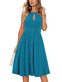 Alice & Elmer Women s Casual Beach Summer Dresses Solid Cotton Flattering Lace Up Sexy Hole Button Down Halter Sundress  0025-Sky Blue,M