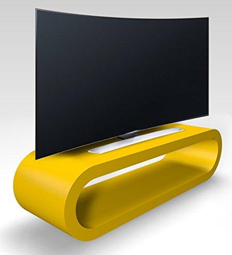 Zespoke Design Rétro de Cercle de Style Kiosque TV Grand Mat Jaune/Armoire 110cm