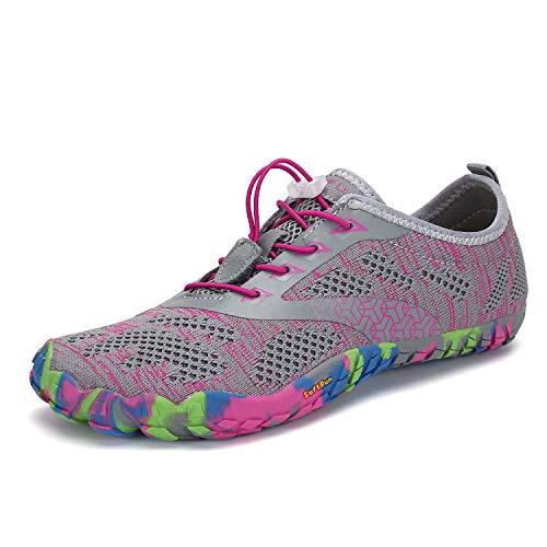 Mens Womens Barefoot Gym Running Walking Trail Beach Hiking Water Shoes Aqua Sports Pool Surf Waterfall Climbing Quick Dry Grey/Pink 5.5 M US Women / 4 M US Men