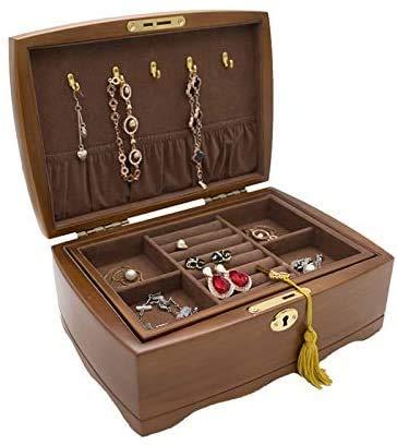 OH Caja de Joyería Organizador de Joyería de Madera Caja de Organizador con Cerradura Cajas de Alenamiento de Joyas de Doble Capa Mujeres Anillos Collar Cajas de Regalo Pendiente Ba