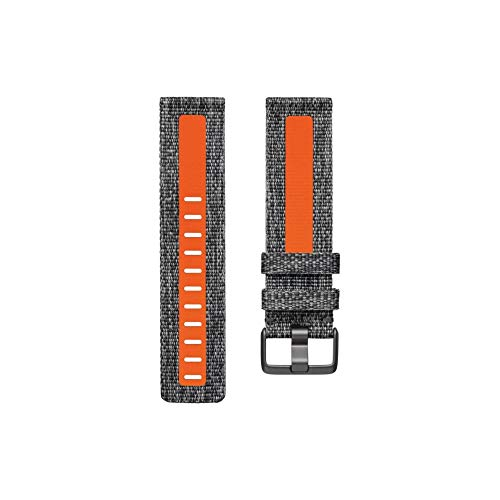 Correas textiles para Fitbit Versa 2, Gris carbón/Naranja, Talla Grande