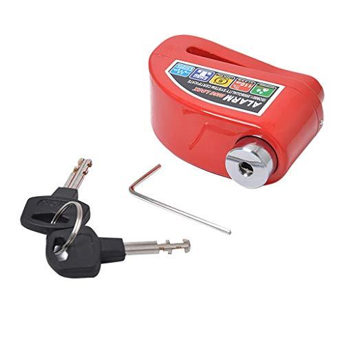 Blocco Moto Antifurto,Blocco Leva Freno Impermeabile Allarme del motociclo Lock Bike di sicurezza antifurto Blocco Moto Blocca Disco freno, chiavi e chiave esagonale (Color : Red)