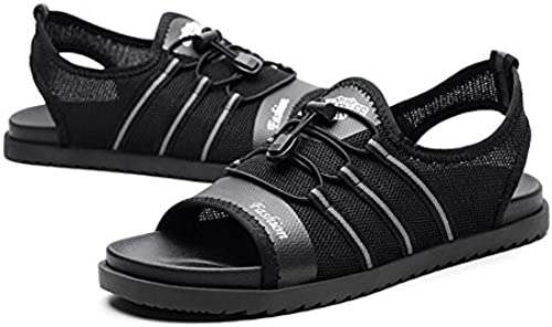 QSYUAN Herrenschuhe Sommer Neue Casual Wild Peas Schuhe Pedal & Comfort Atmungsaktiv Wasserdicht Rutschfeste Tragbare Faule Schuhe & Walking & Beach,schwarz,42