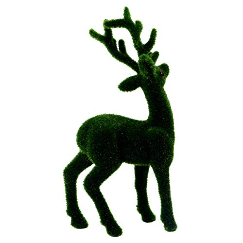 HEMOTON Christmas Reindeer Ornament Artificial Moss Flocked Animal Figurines Turf Grass Deer Model for Xmas Holiday Table Centerpiece Decoration Style 1
