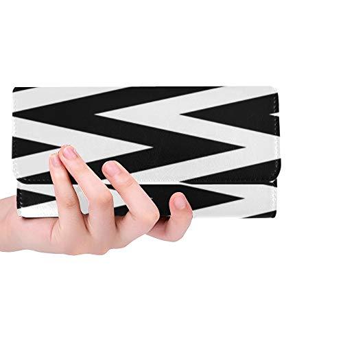 JOCHUAN Tapete-Muster-Zickzack der einzigartigen kundenspezifischen abstrakten Muster-Retro- Illustration Trifold-Geldbörsen-lange Geldbeutel-Kreditkarteninhaber-Fall-Handtasche