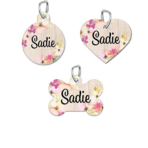 DKISEE Personalized Dog Tag Cat Tag Pet ID Tag, Rustic Floral Round Shape Stainless Steel Pet ID Tag