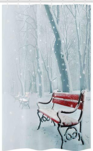 ABAKUHAUS Winter Schmaler Duschvorhang, Snowy-Bank-nebelhafter Pfad, Badezimmer Deko Set aus Stoff mit Haken, 120 x 180 cm, Weiß