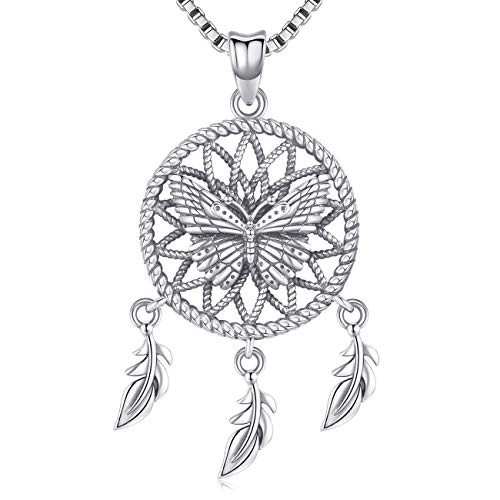 Collar de plata para mujeres y niñas, colgante de plumas de atrapasueños, efecto oxidación, joyería de regalo, viene con caja delicada