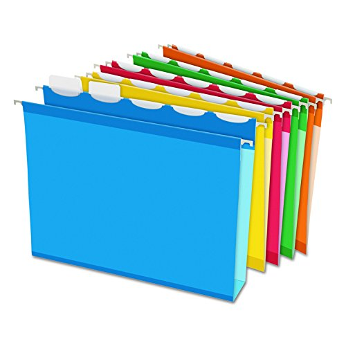 Pendaflex Ready-Tab Extra Capacity Reinforced Hanging File Folders, Letter Size, Assorted Colors, 5 Tab, 20/BX (42700)