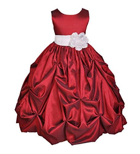 ekidsbridal Taffeta Pick-Up Bubble Apple Red Flower Girl Dresses Recital Dress Birthday Girl Dresses Communion Dress 301S 10