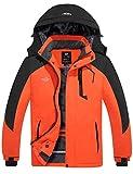 Wantdo Men's Waterproof Ski Jacket Winter Snowboarding Coat Orange Black 2XL