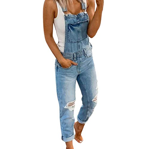 Frauen Jeans Klassisch Retro Hosenträger Latzjeans Röhrenjeans Straight Fit Overall Washed Jeanshose Damenlatzhose Ärmellos mit Taschen