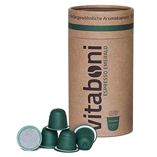 Vitaboni - BIO ESPRESSO EMERALD | 30 nachhaltige Kaffeekapseln für Nespresso®¹-Kapselmaschinen | BIO-Kaffee aus Peru & Uganda | kompostierbare & alufreie Kaffeekapseln | Nespresso®¹ kompatibel