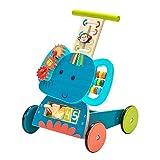 labebe Lauflernwagen Holz, 3-in-1 Verwendung als Laufwagen, Blauer Elefant Lauflernhilfe für 1-3...