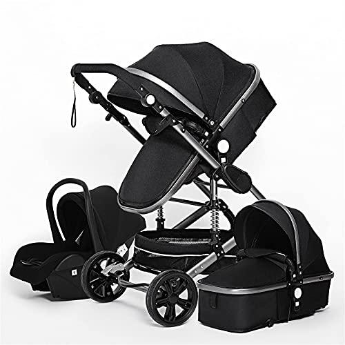 QTWW Cochecito de bebé de Lujo 3 en 1 Carrito de bebé portátil Genuino Cochecito Plegable Marco de Aluminio Cochecito de Paisaje Alto para bebé recién Nacido (Color: 3 en 1 Negro)