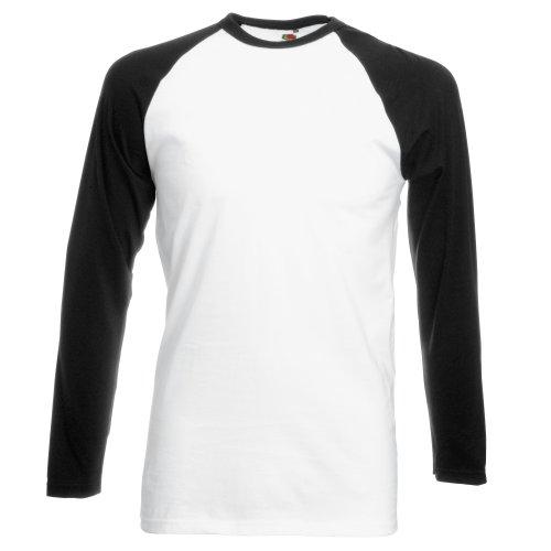 Fruit of the Loom Herren Baseball T-Shirt, Mehrfarbig (White/Black), (Herstellergröße: X-Large)