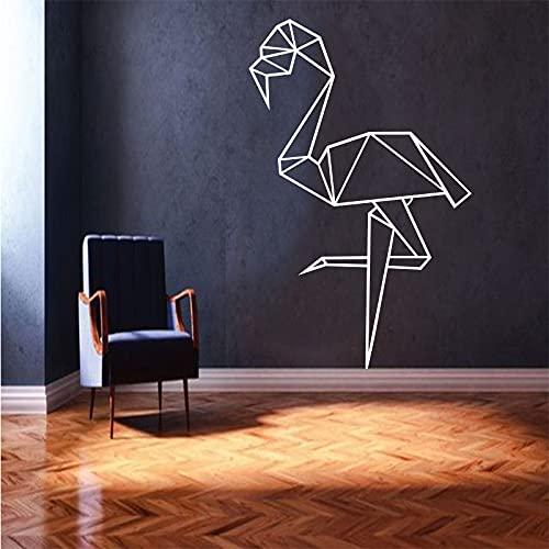 Flamingo Origami vinilo pared pegatina Mural cartel pared calcomanía sala de estar decoración pared arte papel tapiz A6 57x90cm