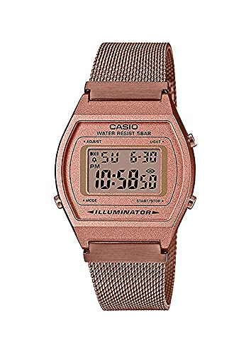 Casio B640WMR-5AV Men's Vintage Rose Gold Tone Stainless Steel Mesh Band Classic LCD Digital Watch