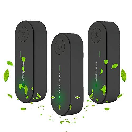 3 piezas Mini Purificador de Aire Enchufable Portátil, Ultrasilencioso Desodorización del Generador de Ozono Hogar con Generador de Iones, para Mascotas Baño Oficina Dormitorio Cocina (negro)