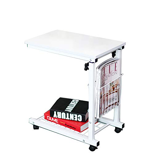 soges Adjustable Lap Table Portable Laptop Computer Stand Desk Cart Tray Notebook Lap Side Table for Bed Sofa Hospital Nursing Reading Eating,ZS-C6-DW